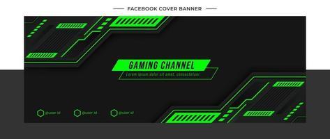 modèle de médias sociaux en-tête de fond de jeu vert futuriste vecteur