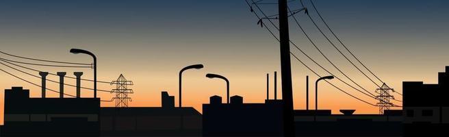 paysage coucher de soleil sur le fond des bâtiments urbains - vector