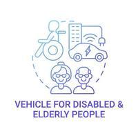 icône de concept de véhicule pour personnes handicapées et âgées. vecteur