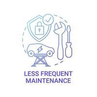 icône de concept de maintenance moins fréquente ev. vecteur