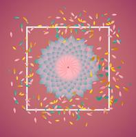 Fleurs colorées avec bordure blanche et feuilles, illustration vectorielle