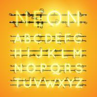 Caractère néon réaliste jaune sertie de fils et console, illustration vectorielle vecteur