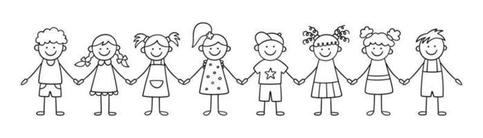groupe d'enfants drôles se tenant la main. enfants mignons de griffonnage heureux vecteur