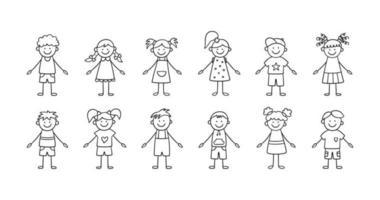 ensemble d'enfants drôles. heureux doodle mignon enfants. vecteur