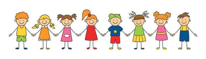 groupe d'enfants drôles se tenant la main. notion d'amitié. vecteur