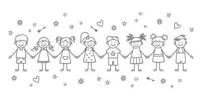 groupe d'enfants drôles se tenant la main. heureux enfants mignons de griffonnage. vecteur