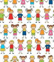 modèle sans couture d'enfants drôles, main dans la main. notion d'amitié. vecteur