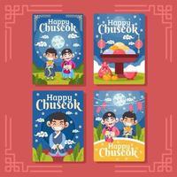 jolies cartes de chuseok heureux vecteur
