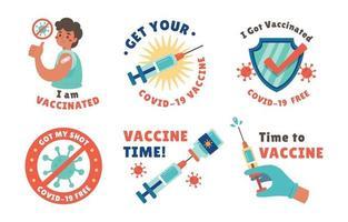 ensemble d'autocollants de campagne de vaccination covid 19 vecteur