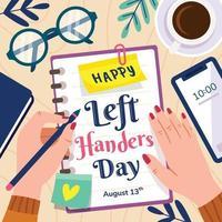 célébration de la journée des gauchers vecteur