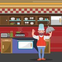 conception de personnage de cuisinier dans un restaurant vecteur