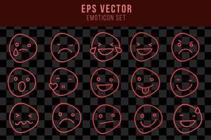 ensemble de lumière rouge émoticône effet néon emoji smiley caractère lampe lueur vecteur