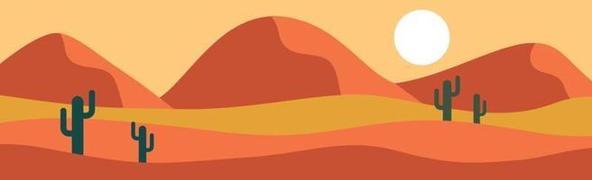 paysage panoramique désert chaud et ensoleillé de la savane - vecteur