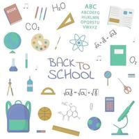 collection d'objets et de sujets scolaires. éléments vectoriels isolés. vecteur