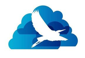 signe naturel avec illustration vectorielle cigogne et nuage vecteur