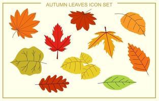 jeu d'icônes de feuilles d'automne vecteur