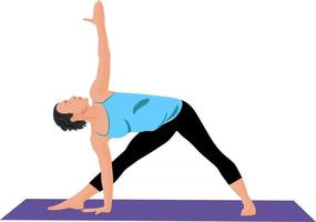 la fille fait du yoga à la maison. vecteur
