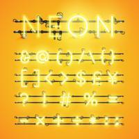 Caractère néon réaliste jaune sertie de fils et console, illustration vectorielle