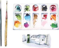 fournitures d'art aquarelle vecteur
