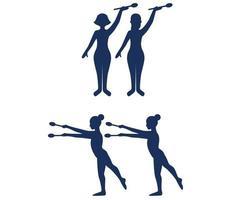 ensembles gymnastique rythmique sport design 2020 jeux résumé vecteur signes
