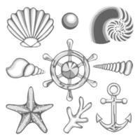 ensemble de mer de vecteur de dessin hachuré