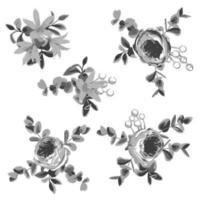 conception de dessin hachuré collection de fleurs et de feuilles vecteur
