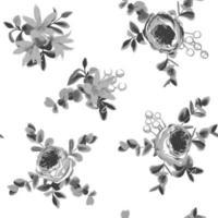 Motif harmonieux de dessin éclos de fleurs et de feuilles vecteur