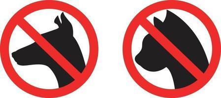 pas d'icônes de restriction autorisées pour les chiens et les chats vecteur