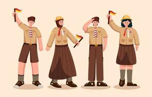 jeu de caractères de l'organisation nationale du scoutisme indonésien vecteur
