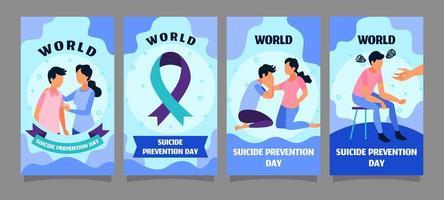 jeu de cartes pour la journée mondiale de la prévention du suicide vecteur