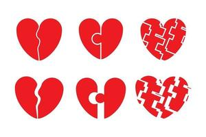 ensemble d'icône de coeur brisé. aversion, tristesse, rupture, divorce vecteur