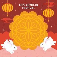 joyeux festival de la mi-automne avec lapins et gâteau de lune vecteur