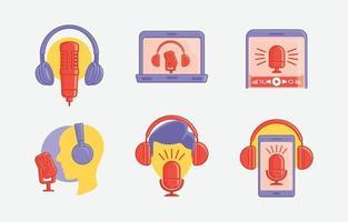 icône de la journée internationale du podcast vecteur