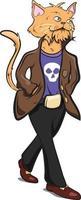 humain avec une tête de chat portant des vêtements cool. vecteur