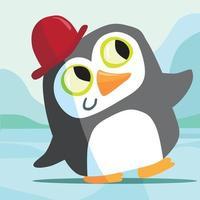 Pingouin au chapeau melon rouge sur la glace vecteur