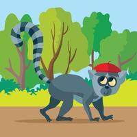 lémurien en béret rouge parmi les arbres vecteur