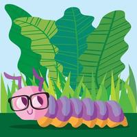 chenille avec des lunettes regardant des feuilles de laitue vecteur