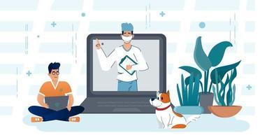 consultation médicale par internet avec médecin. vecteur