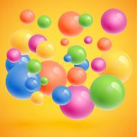 Sphères colorées flottant, illustration vectorielle réaliste