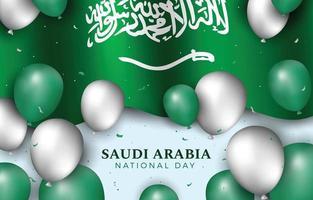 drapeau et ballon de la fête nationale de l'arabie saoudite vecteur