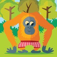 orang-outan en caleçon rayé dans la forêt vecteur