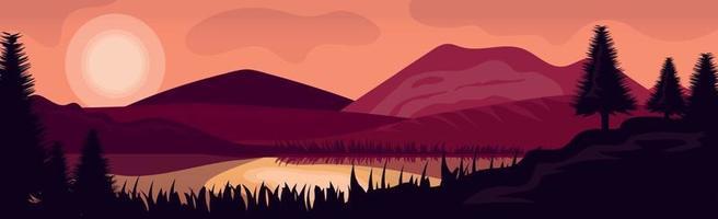 paysage panoramique du soir en montagne en arrière-plan vecteur