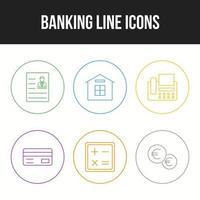 beau jeu d'icônes vectorielles bancaires et financières vecteur