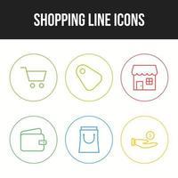 beau shopping six icônes dans un ensemble vecteur