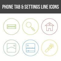 onglet téléphone et jeu d'icônes vectorielles paramètres vecteur
