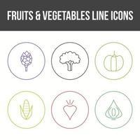 ensemble d'icônes vectorielles de fruits et légumes uniques vecteur