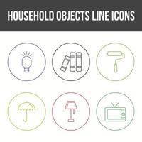 jeu d'icônes vectorielles objets ménagers uniques vecteur
