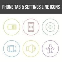 onglet de téléphone unique et jeu d'icônes vectorielles de paramètres vecteur