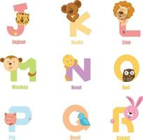 alphabet animal jr vecteur