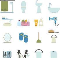 ensemble d'icônes de salle de bain vecteur
